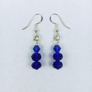 Two tone blue faceted glass bead dangle earrings